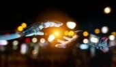 Bílá kyborg rukou se dotknout lidská ruka 3d vykreslování