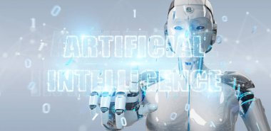 White cyborg woman using digital artificial intelligence text ho
