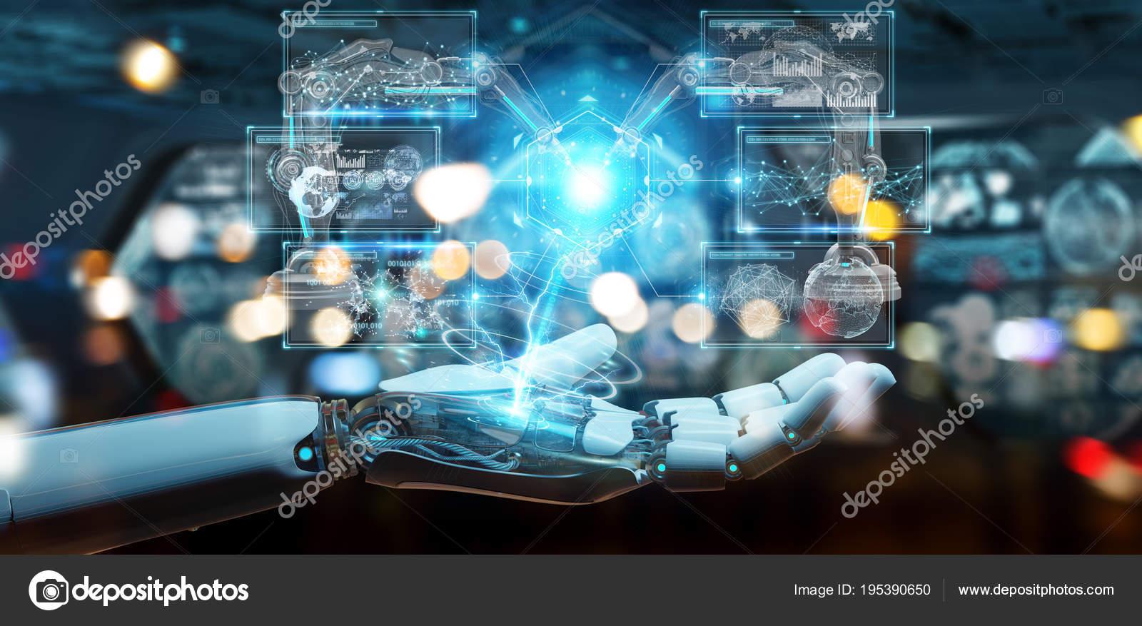 Blanc de main de robot à l'aide du bras robotique avec le numérique 3d