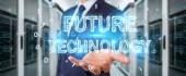 Podnikatel, použití technologie budoucnosti textu rozhraní 3d vykreslování