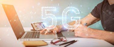 Graphic designer using 5G network digital hologram 3D rendering