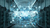 Photo Digital GDPR interface in server room data center storage 3D rendering