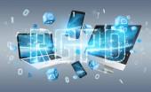 Dsgvo Digitalschnittstelle über Tech Geräten und Computern 3D-Rendering