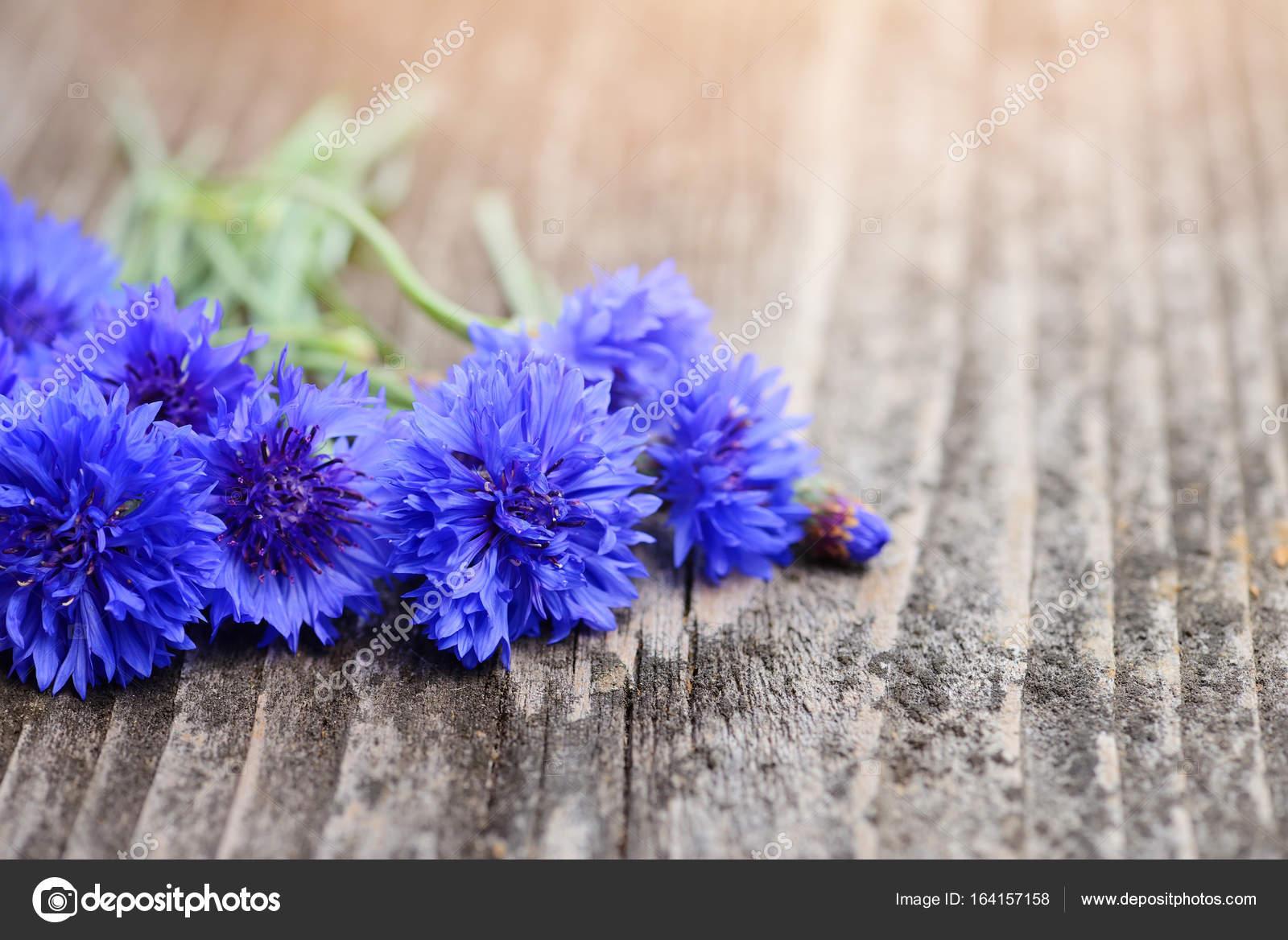 Cornflower Blue Flowers Centaurea Cyanus On An Old Wooden Tabl