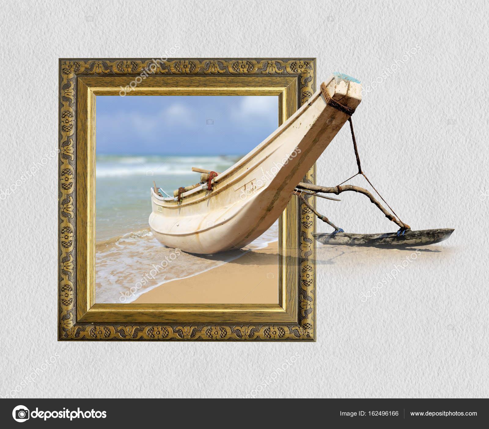 Barco de pesca en marco con efecto 3d — Foto de stock © VolodymyrBur ...