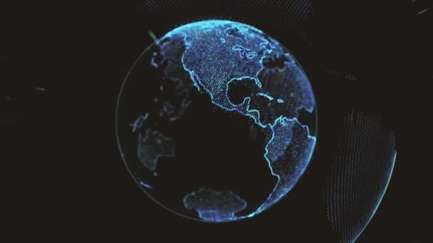 Země rotující smyčka rotujících zářících teček stylizovaných světových koulí s oběžnými drahami