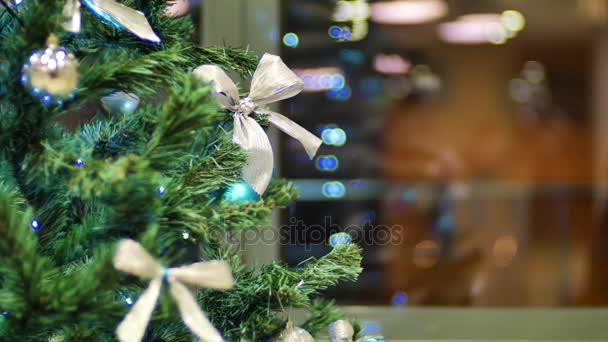 Christmas tree garland flashing bright lights Christmas and New Year Decoration. static xmas background