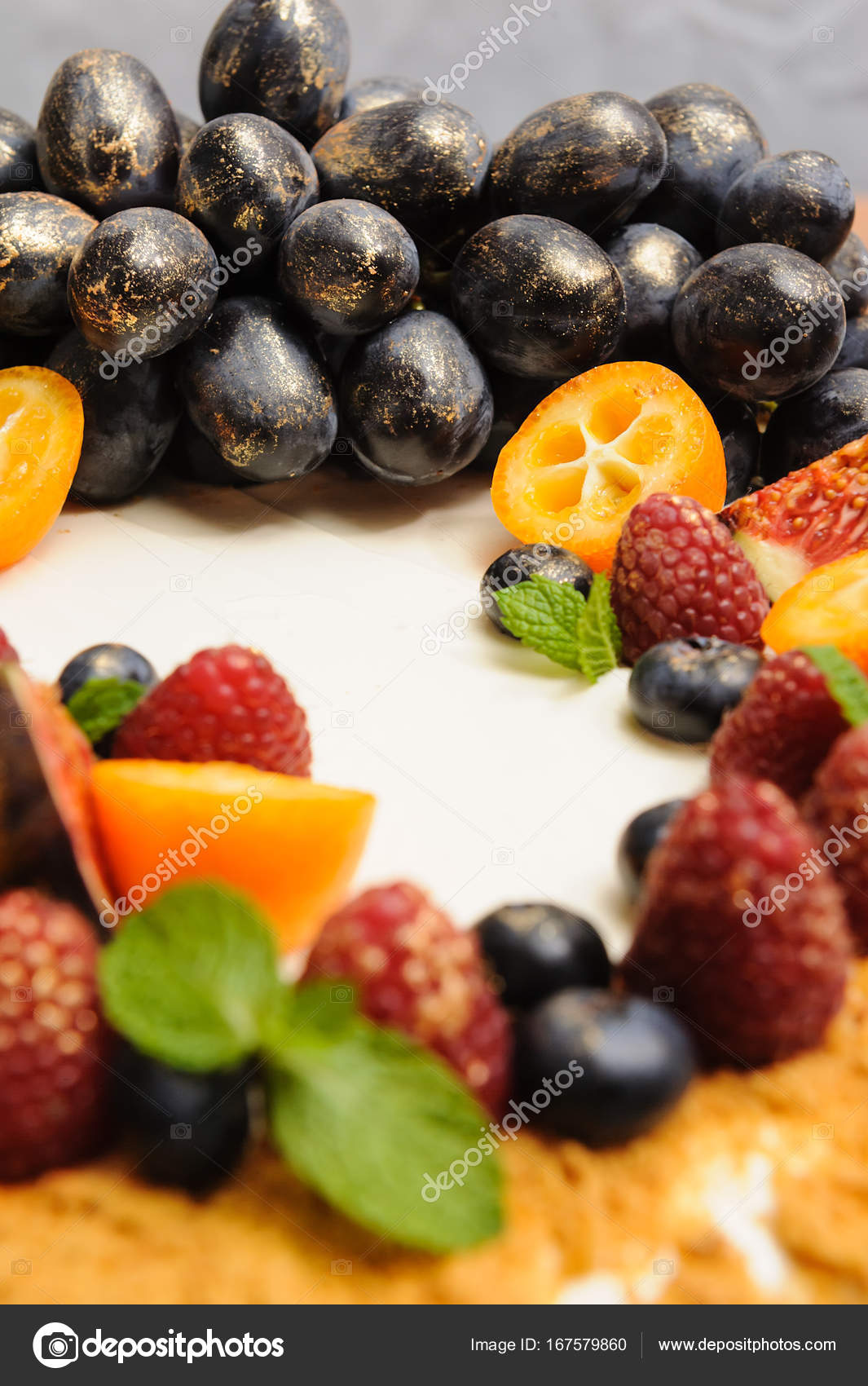 Birthday Cake With Berries Of Grapes And Kumquat In Gold Candurin On