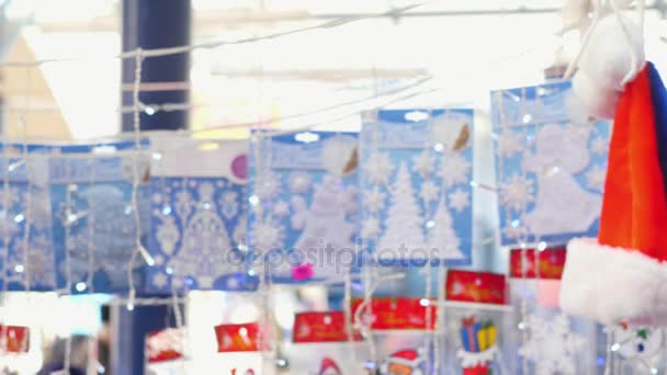 sale of Christmas decorations. Christmas fair, preparation for the holiday, festive mood