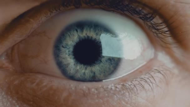 Young man blue iris eye widens in fear. Healthy eyesight concept. Front view slow motion macro shot video in 4K.