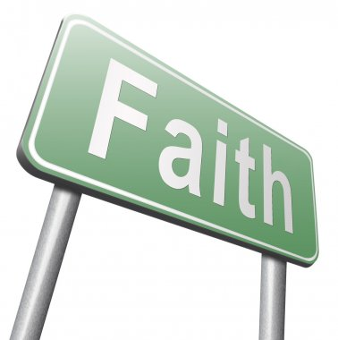 Faith road sign on white background stock vector
