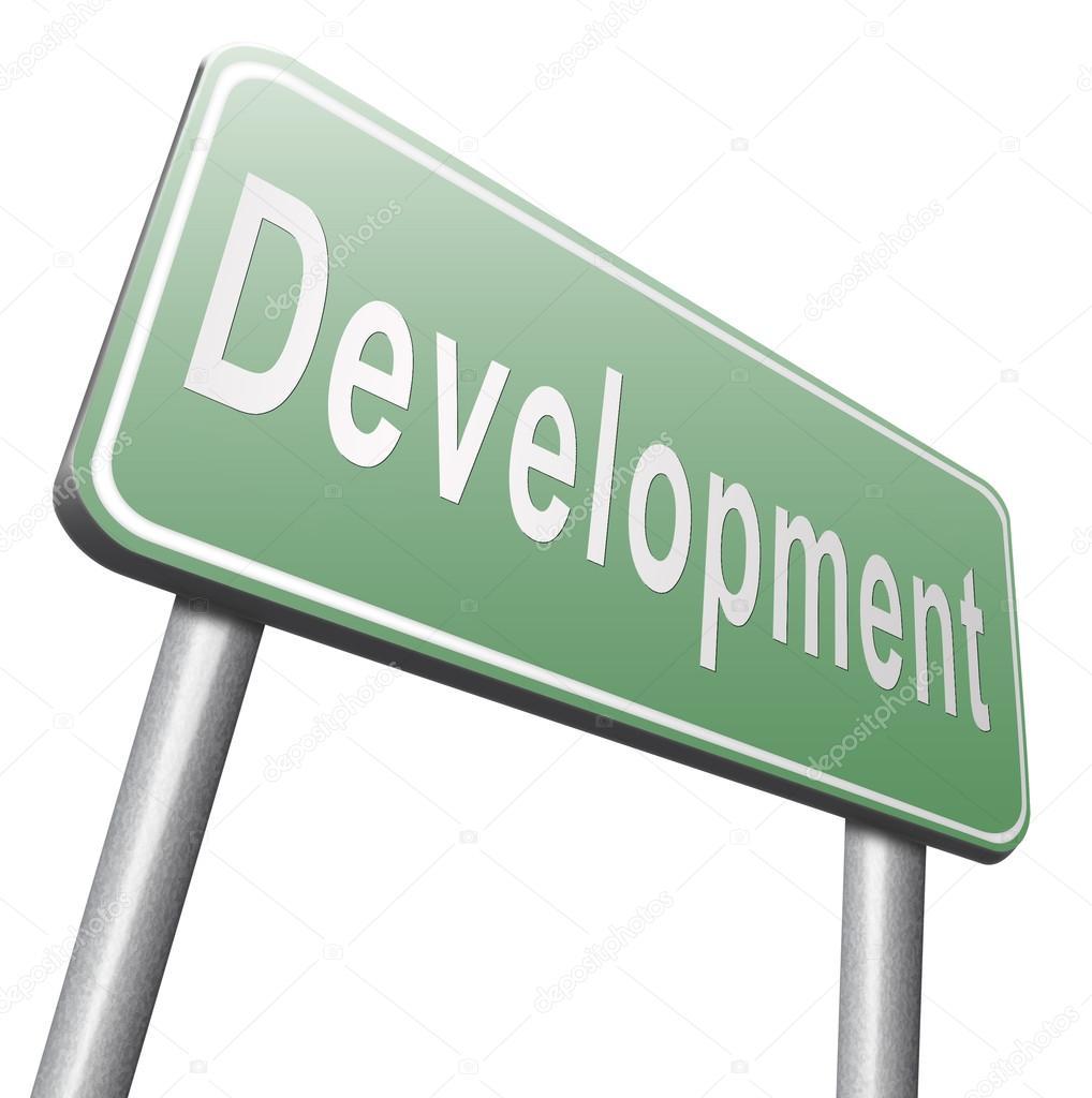 development road sign, billboard