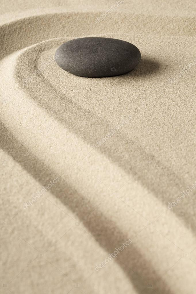 Meditation stone in Japanese zen garden