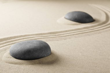 zen stone garden with meditation stone