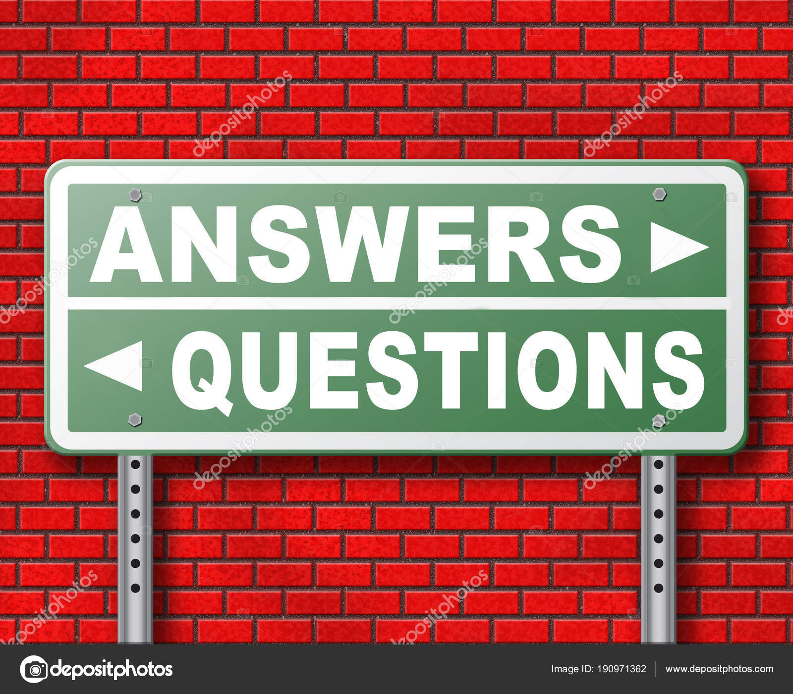 Questions Answers Road Sign Brick Wall Background — Stock