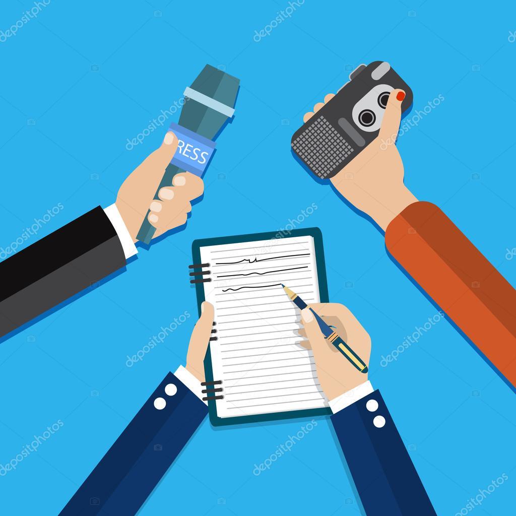 manos sosteniendo voz grabadora, micrófono — Vector de stock ...
