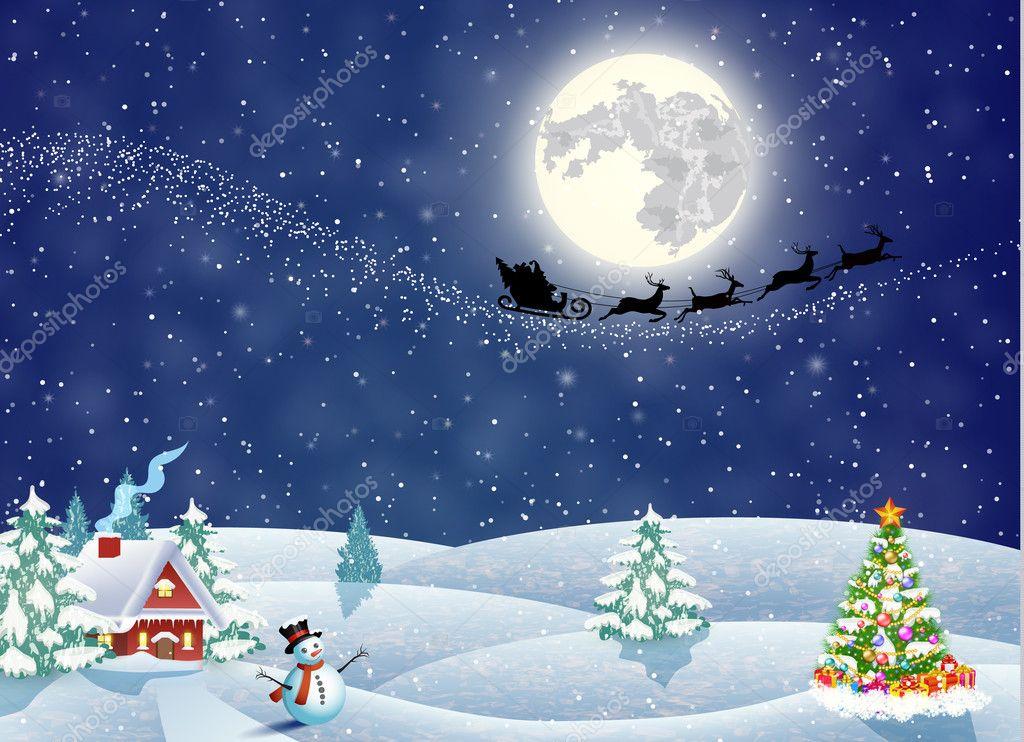 夜の雪のクリスマス風景の家 — ...