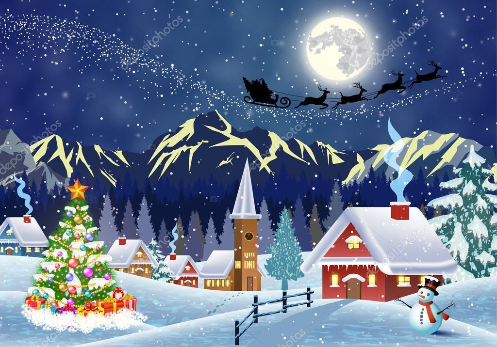 夜の雪のクリスマス風景の家 ストックベクター Drogatnev 128183688
