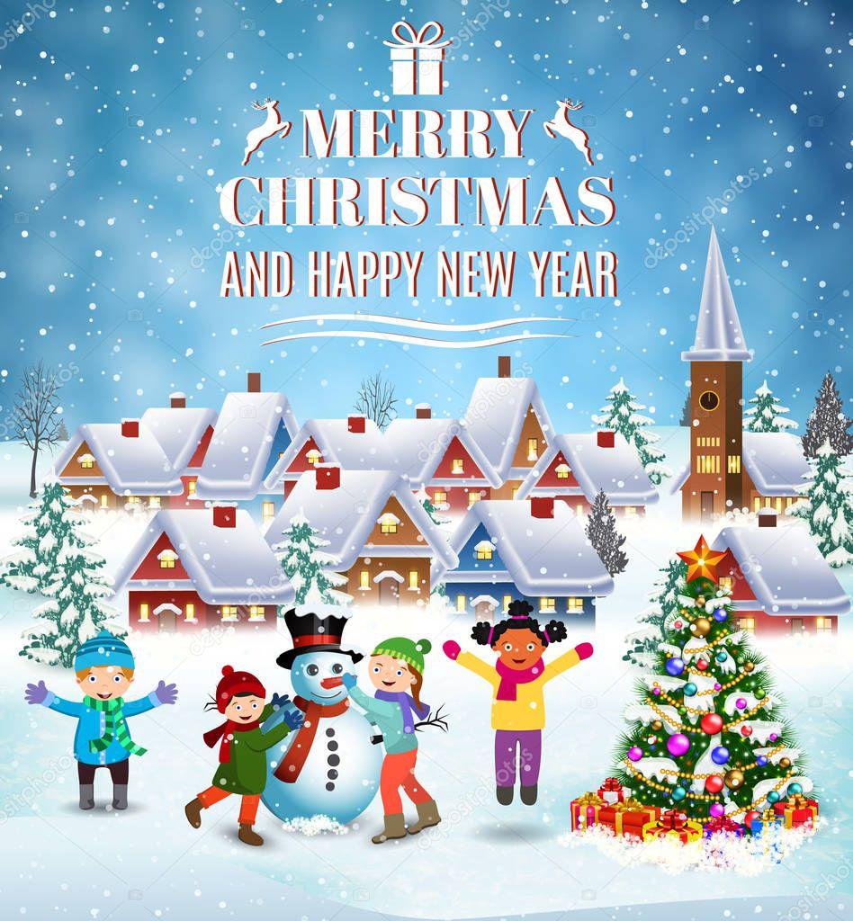 104a2390d53db Feliz año nuevo y feliz Navidad tarjeta de felicitación. Diversión de  invierno. Construcción de muñeco de nieve a los niños. Vacaciones de  invierno.