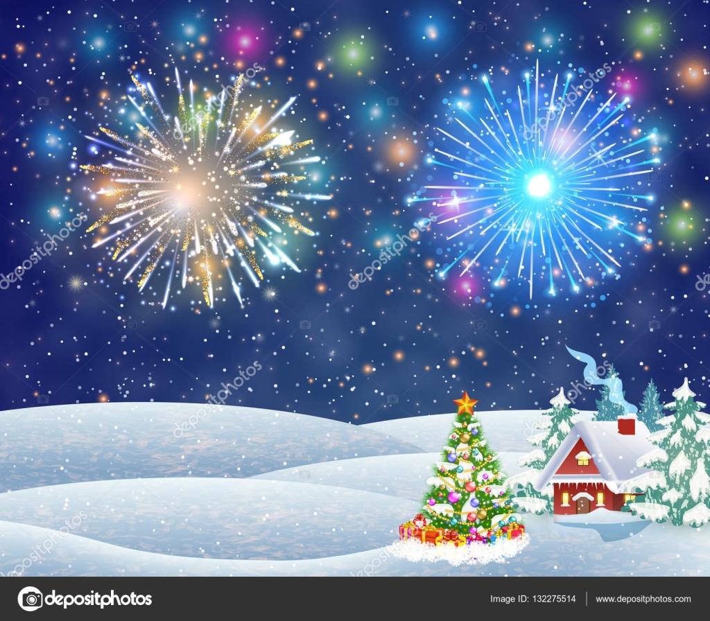 Casa en paisaje nevado de navidad por la noche archivo - Paisaje nevado navidad ...