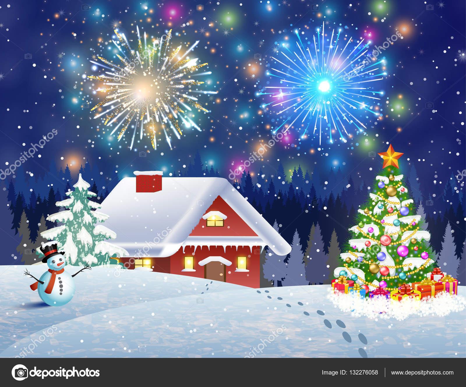 Immagini Paesaggi Natale.Foto Paesaggi Innevati Di Notte Casa Nel Paesaggio