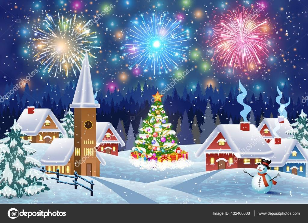 夜の雪のクリスマス風景の家 ストックベクター Drogatnev 132400608