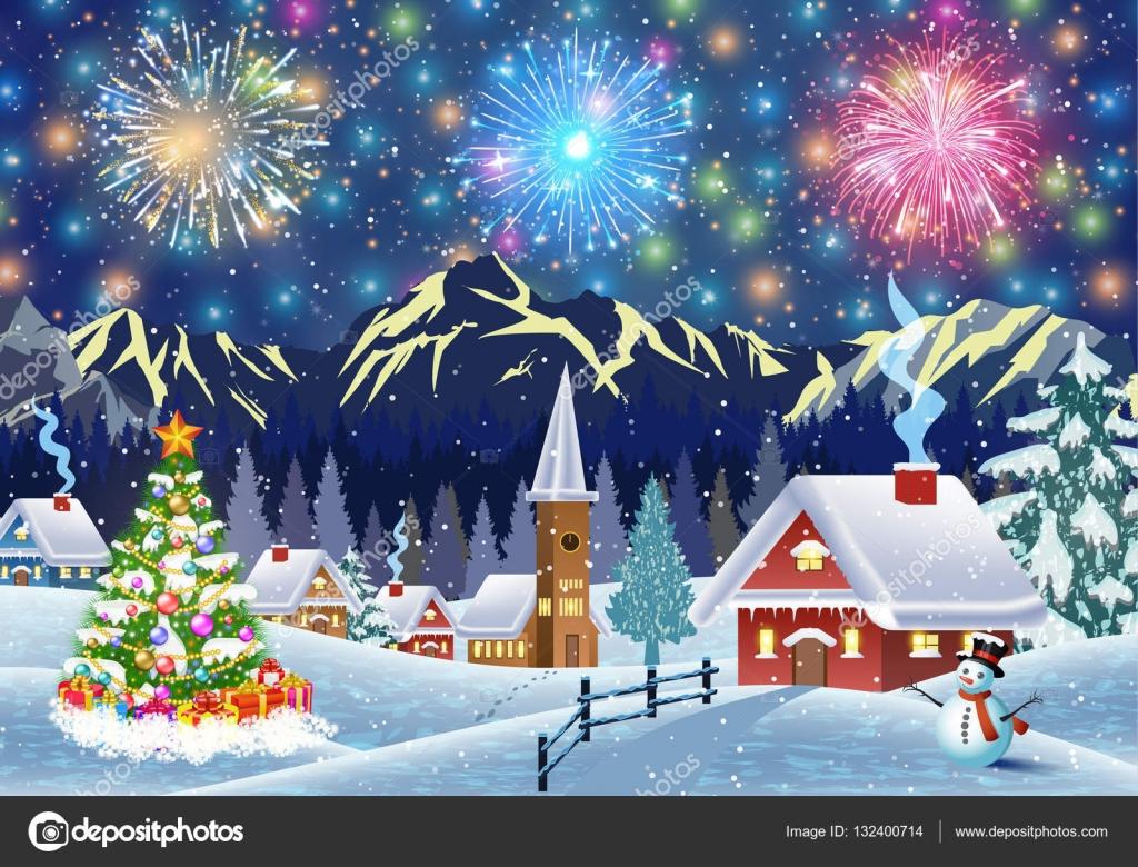 Casa en paisaje nevado de navidad por la noche vector de - Paisaje nevado navidad ...