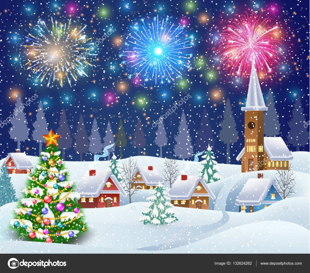 house in snowy Christmas landscape at night — Stock Vector ...