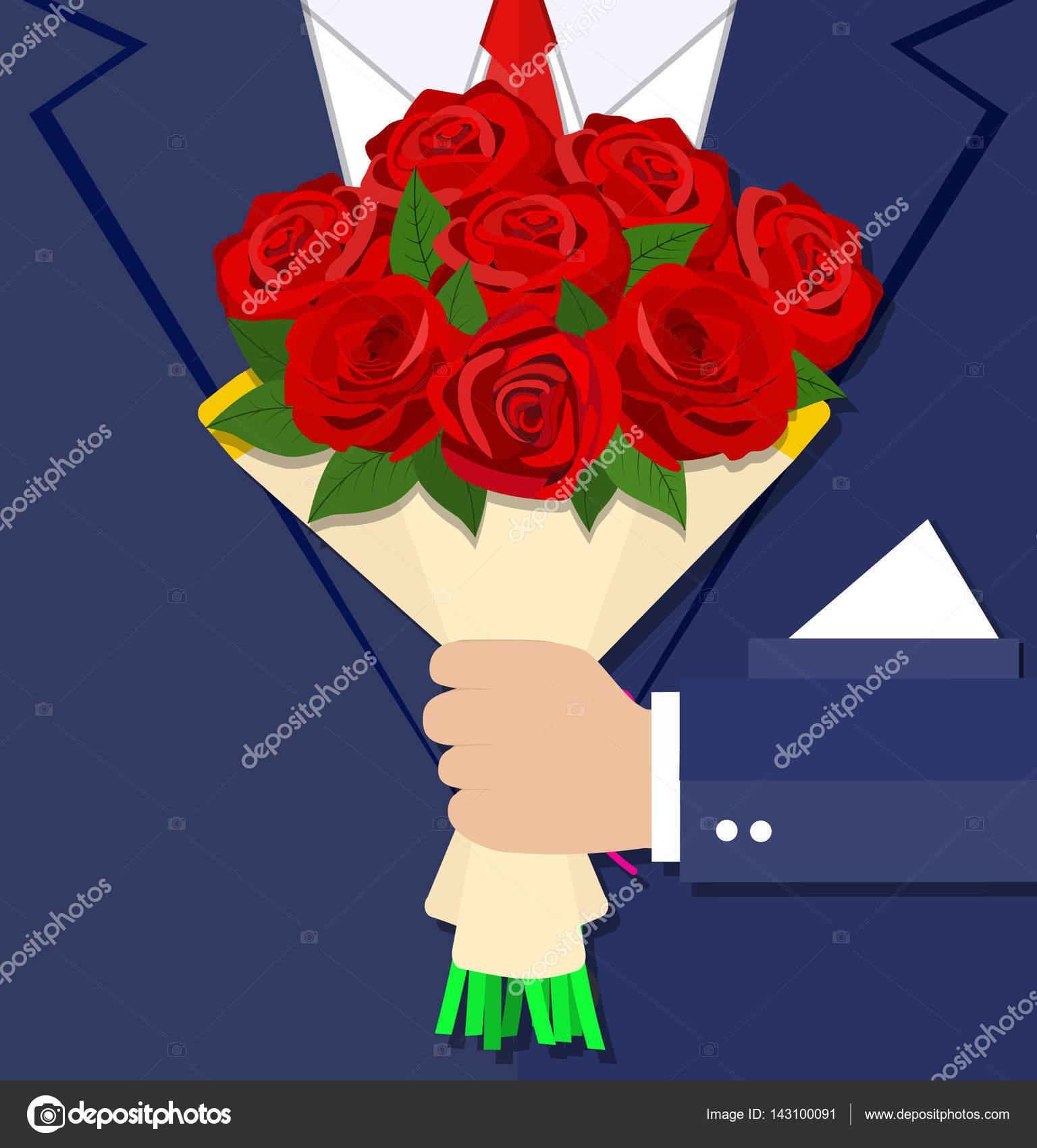 Dessin anim homme d 39 affaires main tenant le bouquet for Bouquet de fleurs homme