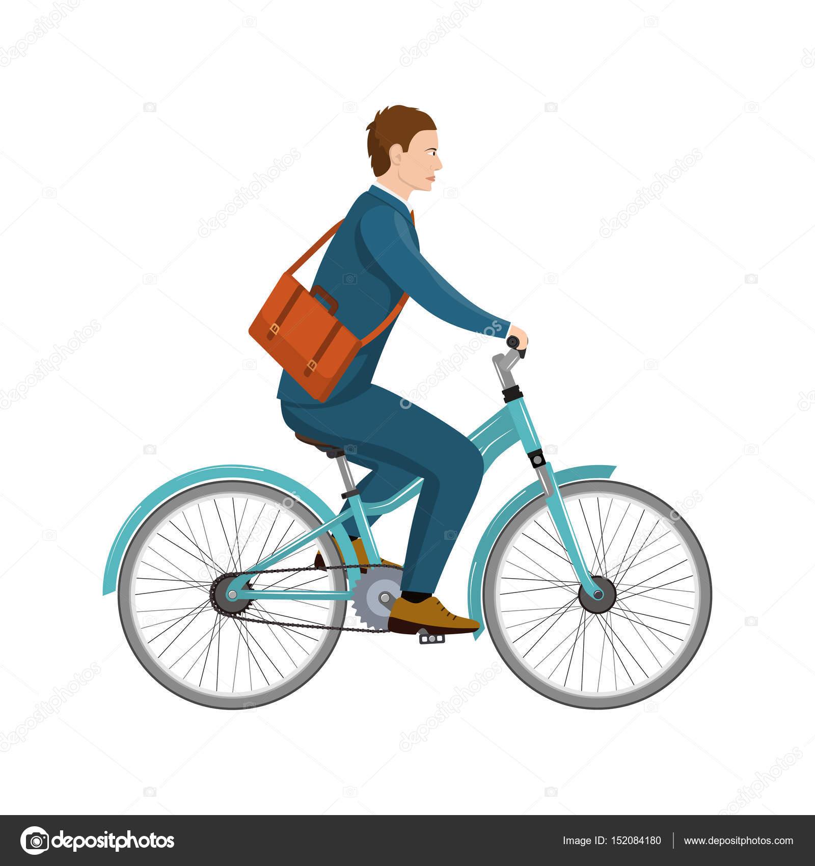 simples dos desenhos animados do empresário andando de bicicleta