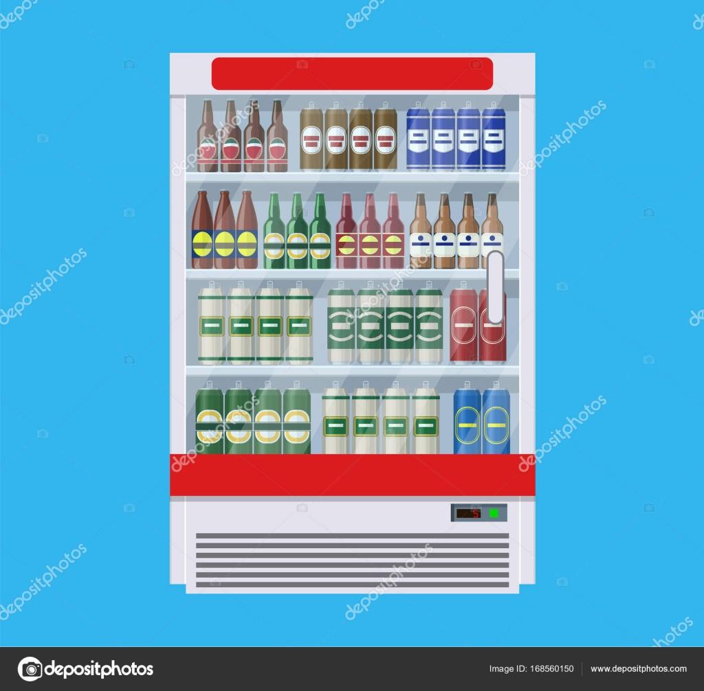 Vitrinen-Kühlschränke für die Kühlung von Getränken — Stockvektor ...