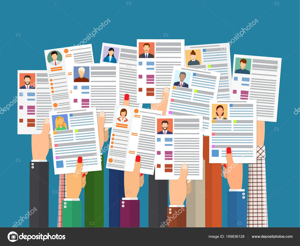 Manos sosteniendo cv reanudar documentos — Vector de stock ...