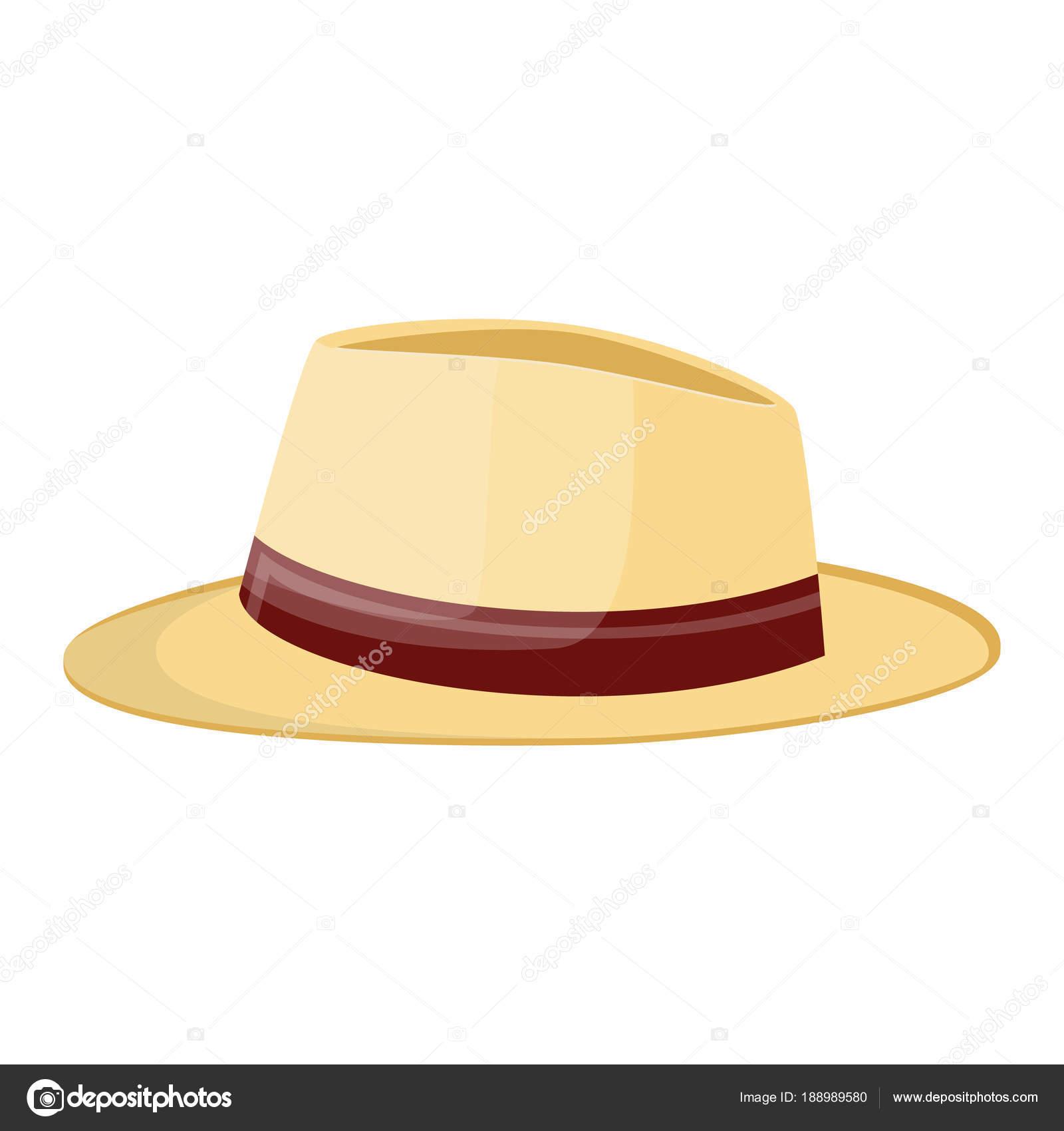 Sombrero de paja. Sombrero paja aislado en blanco — Vector de stock 082c6318836