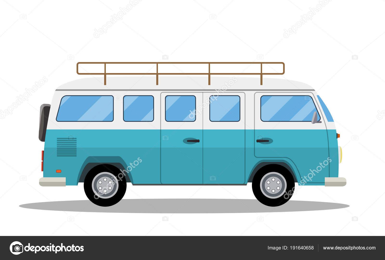 328b7c2227 Retro travel van icon. Surfer van. Vintage travel car. Old classic camper  minivan. Retro hippie bus.Vector illustration in flat style isolated on  white ...