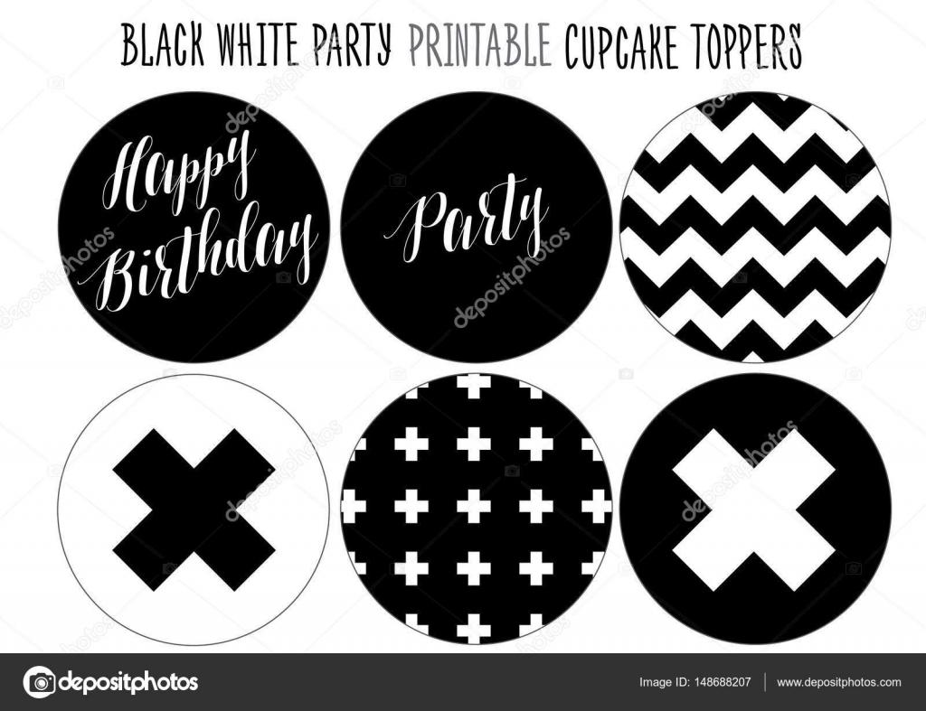 Envolturas de la Magdalena imprimible para fiesta de blanco y negro ...