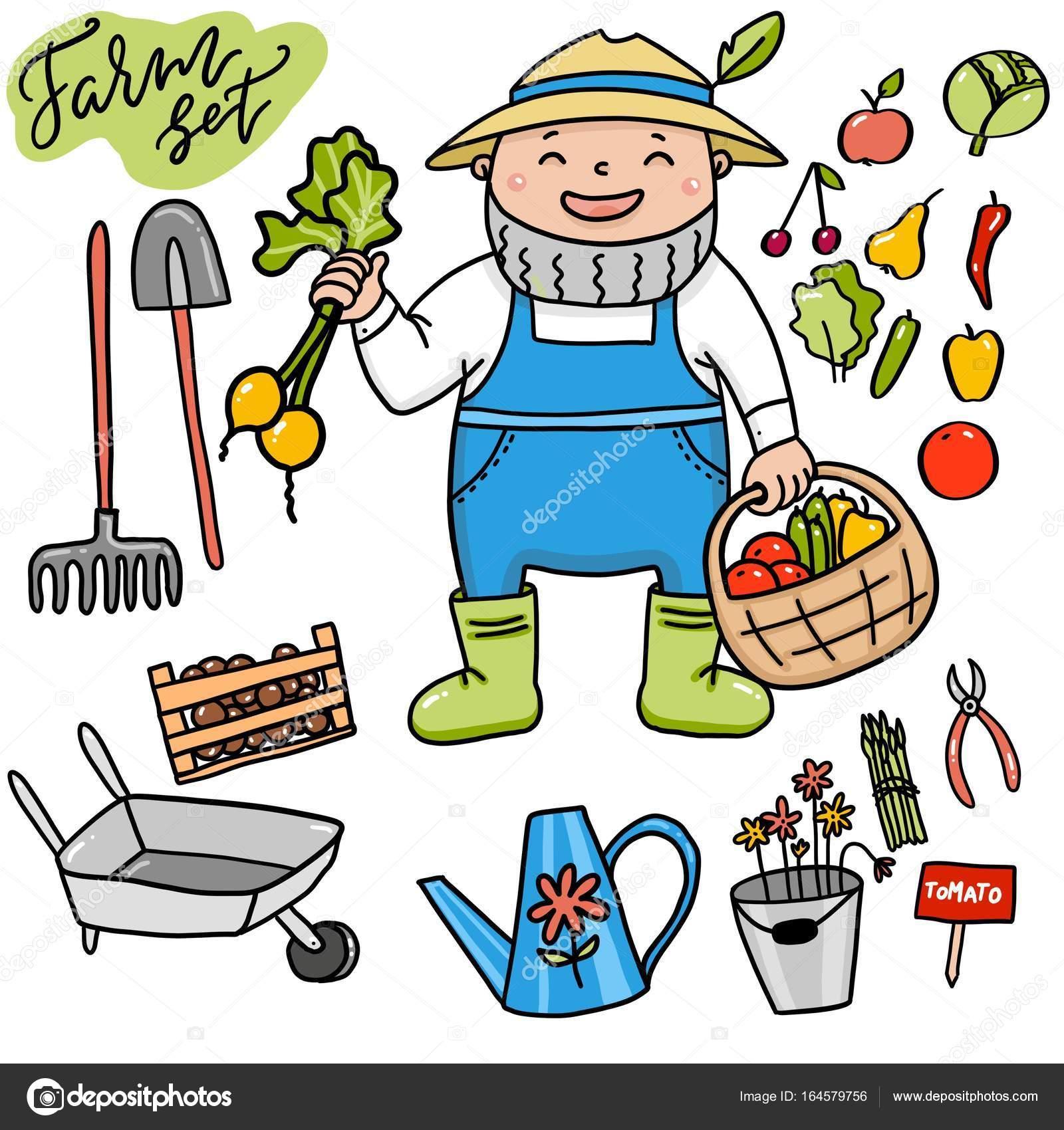 Agriculteur drôle avec les outils de jardinage — Photographie ...