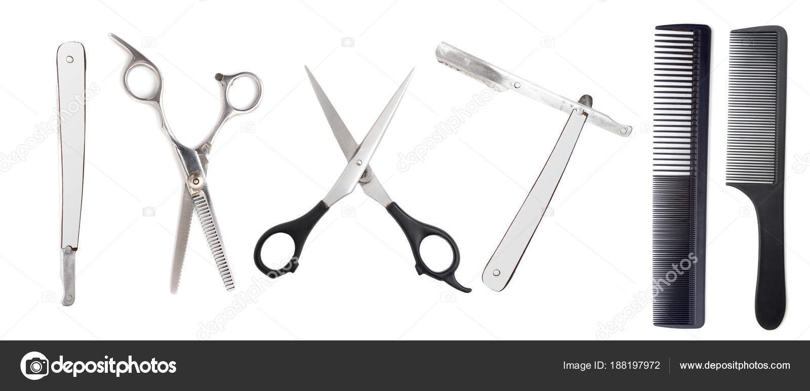 comb with scissors and razor on a white background stock photo