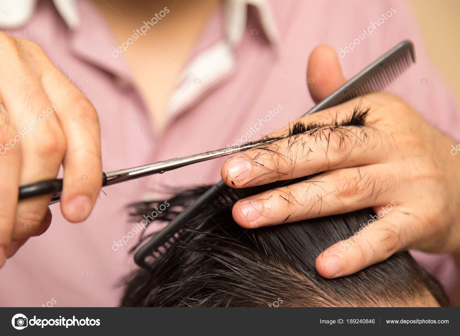 Mens Haircut With Scissors At Salon Stock Photo Schankz 189240846