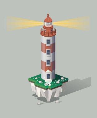 isometric lighthouse on flying island