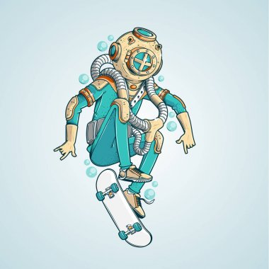 Cartoon character Submarine skater