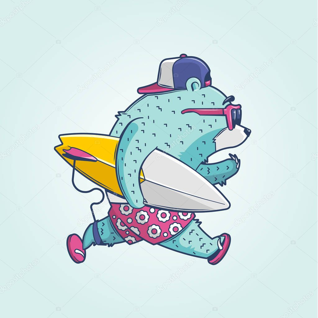 Cute cartoon bear surfer