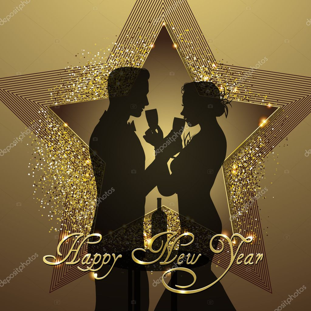 new year background couple silhouette sharing glass of champagne stock vector