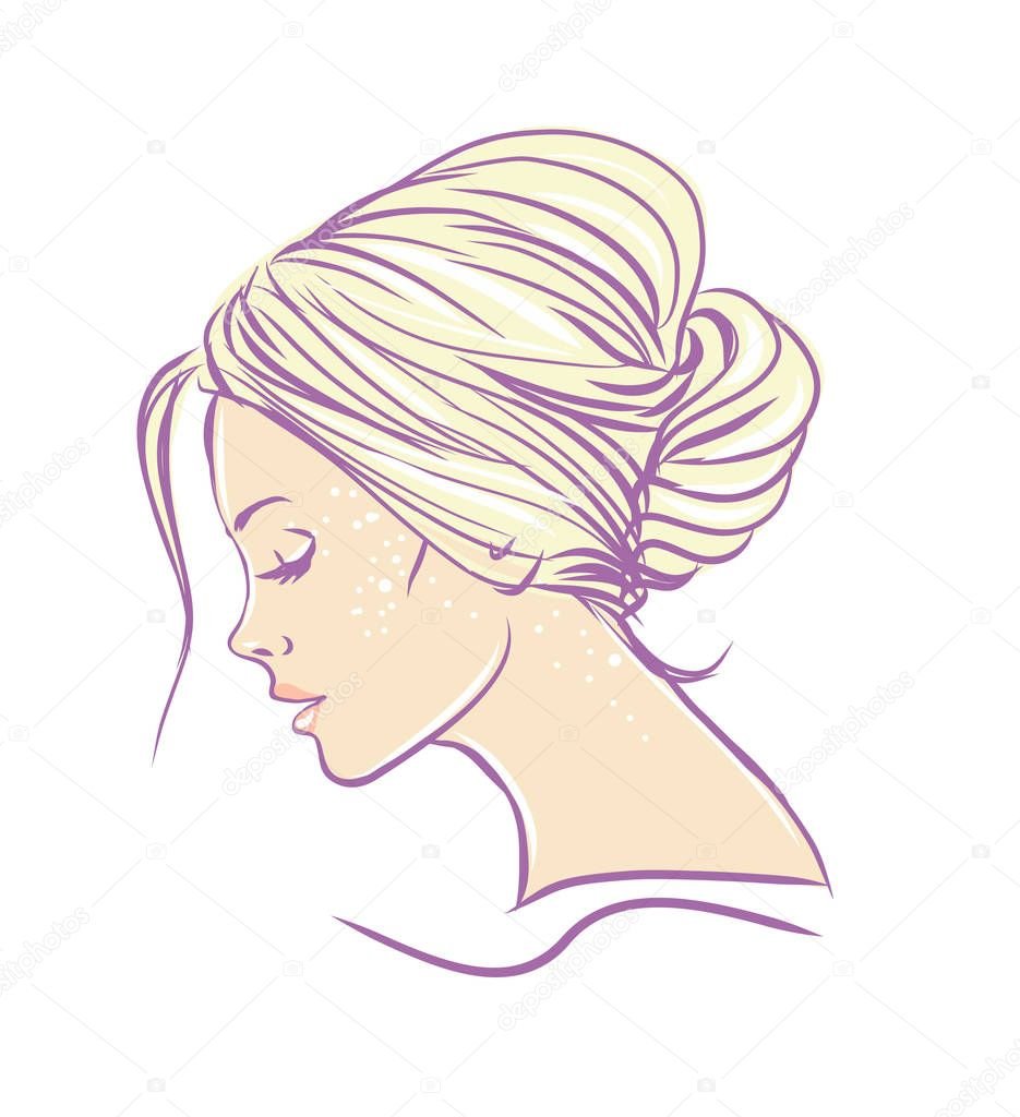長い髪のイラストが美しい女性 ストックベクター Deryadraws 130089362