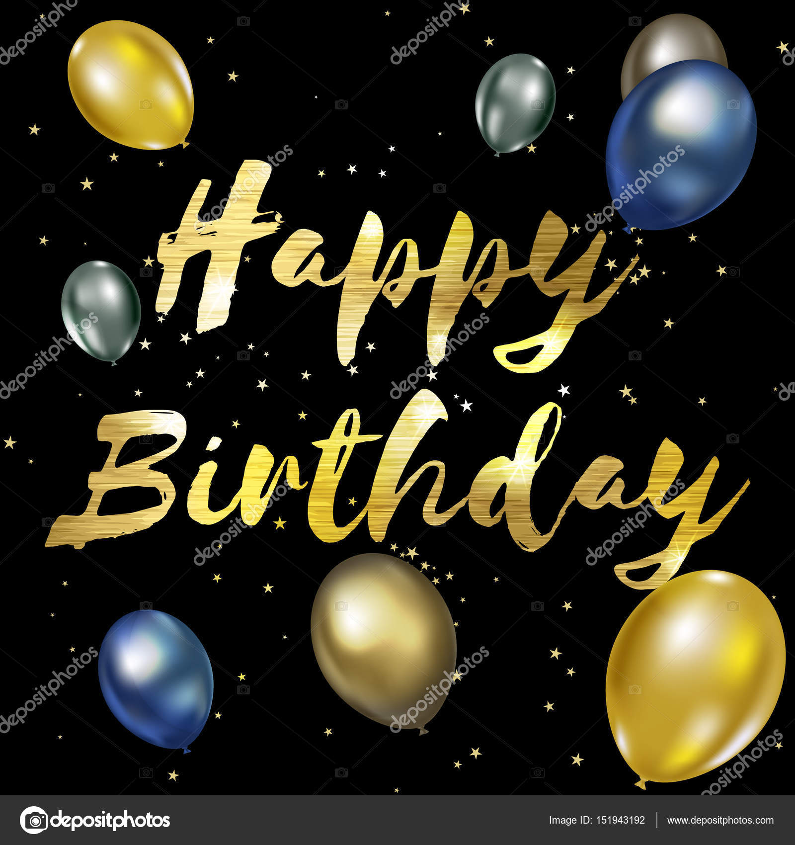 Happy Birthday Greeting Card With Golden Stylish Lettering Stock