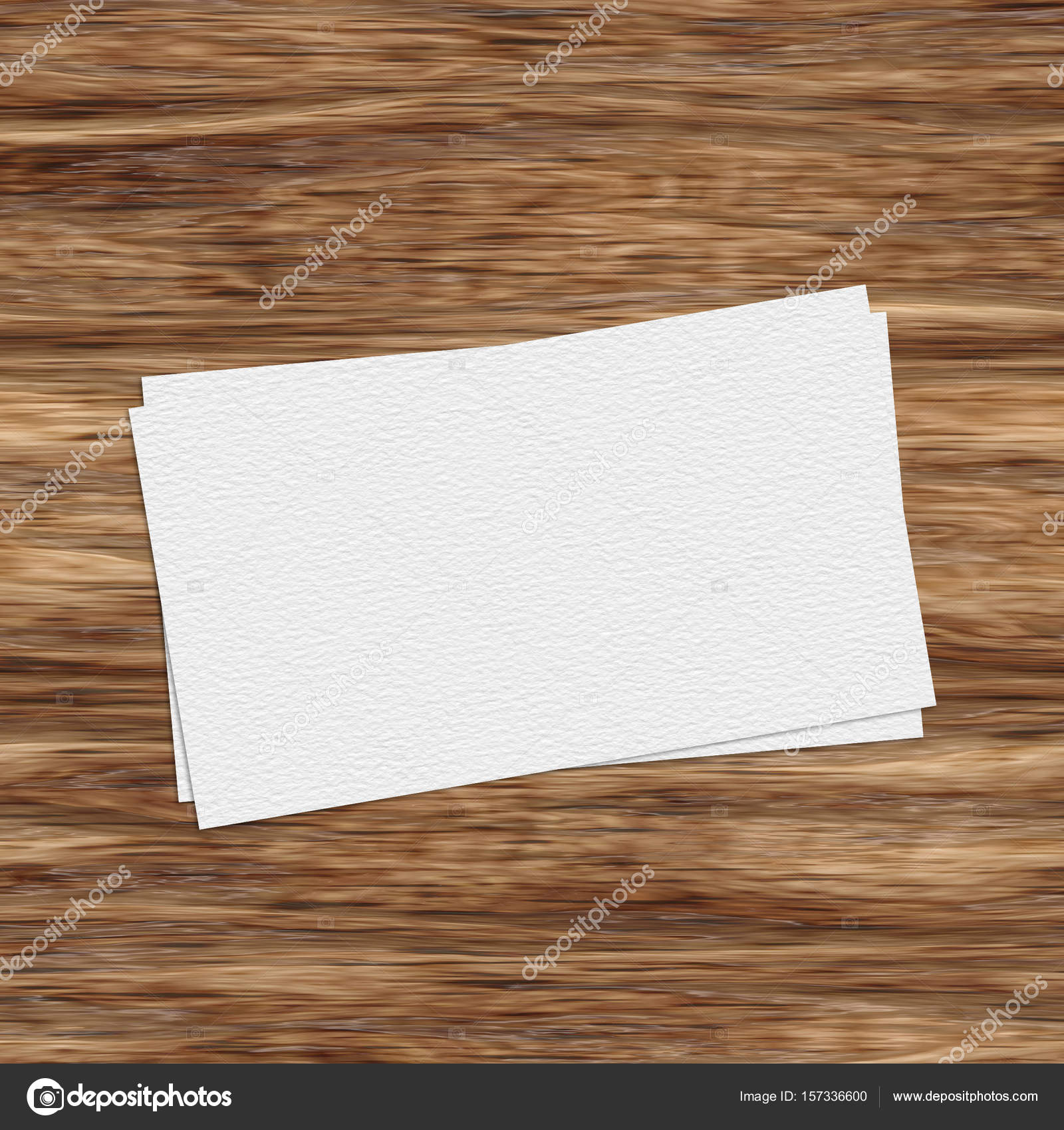 Business card template on wooden table stock photo illustrart business card template on wooden table photo by illustrart reheart Choice Image