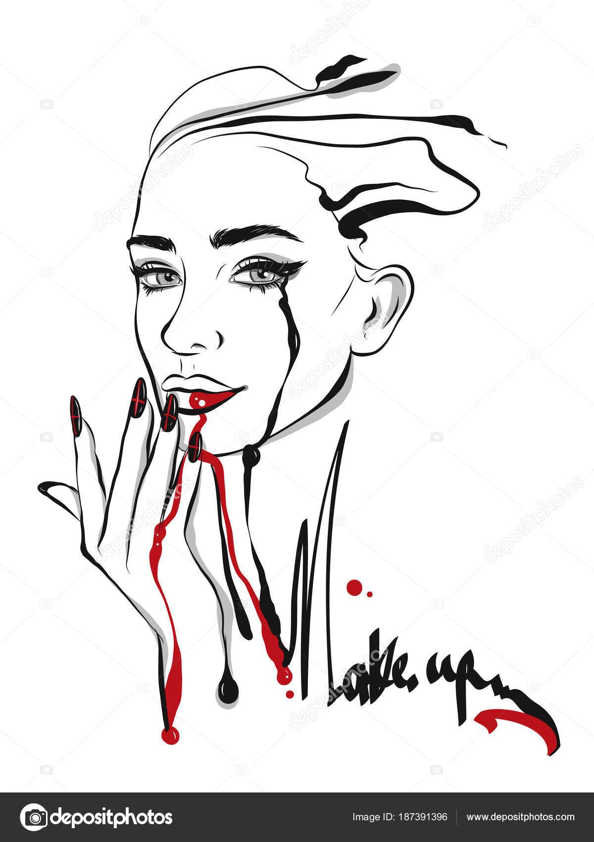 Beautiful Face Line Drawing : Beautiful line art woman illustration — stock vector