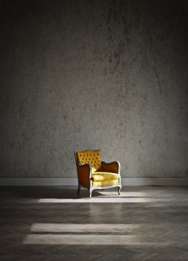 Yellow armchair in an empty room