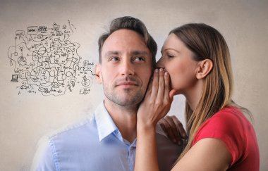 woman is whispering