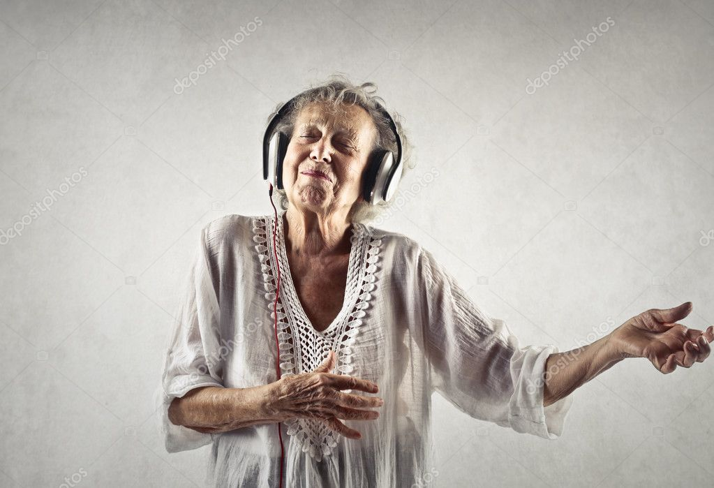 Aged women is dancing