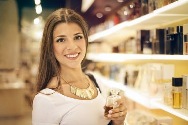 Woman at a perfume store
